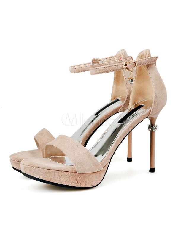 Buy Block Heel Sandals Women Platform Open Toe Stiletto Heel Ankle Strap Sandal Shoes High Heel Sandals for $36.54 in Milanoo store