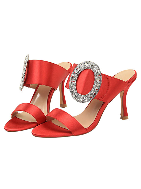 De Soirée En Toe Backless Chaussures Satin Strass Rouge Open rxBCWdoe
