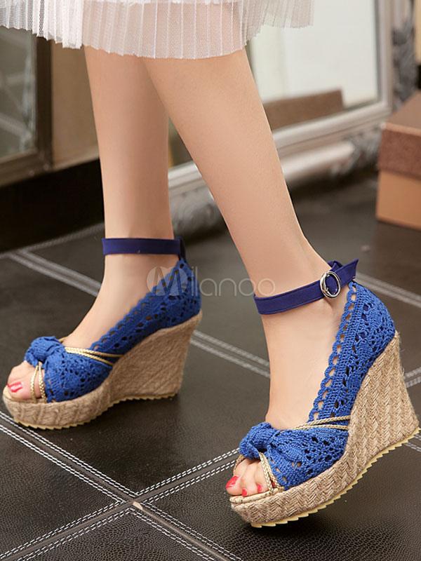 57a25f793cfb0 ... cuña de mujer Ecru plataforma blanca Peep Toe Bow sandalias de alpargata  zapatos de. 12