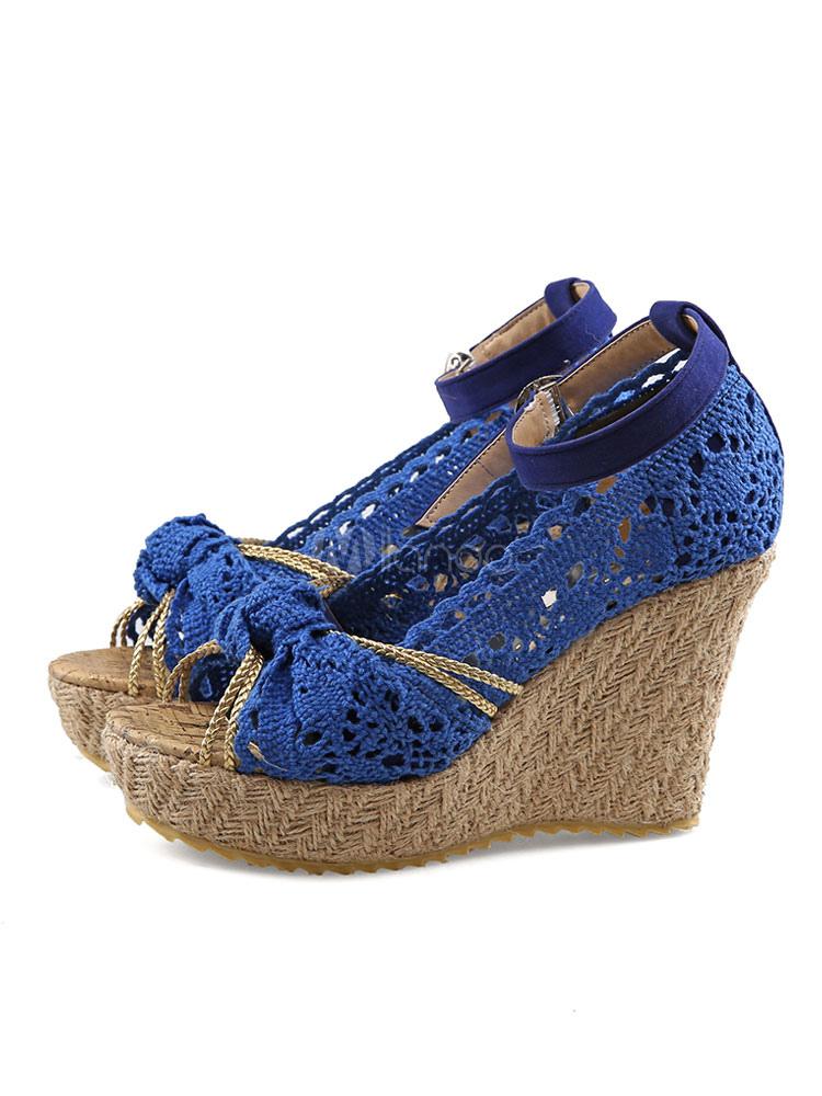 1109c83dbb067 ... Sandalias de cuña de mujer Ecru plataforma blanca Peep Toe Bow sandalias  de alpargata zapatos de ...