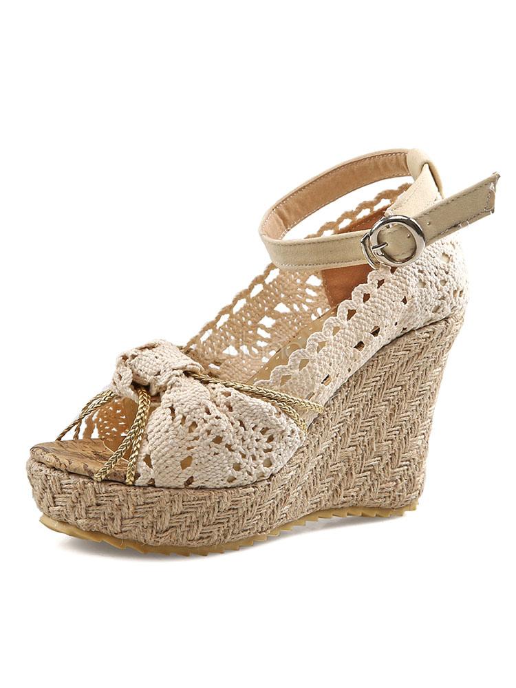 c0d4ec43819a5 Sandalias de cuña de mujer Ecru plataforma blanca Peep Toe Bow sandalias de alpargata  zapatos de ...