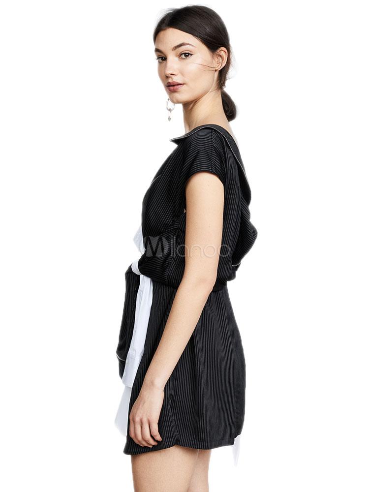 Asymétrique À Deux Nouée Manches Femme Tons Robe Chemise D'été Courtes xBerdCo