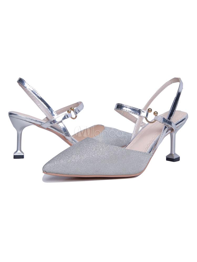 Kitten Heel Pumps Zapatos de mujer con punta de oro Slingbacks Pumps N62SBdi