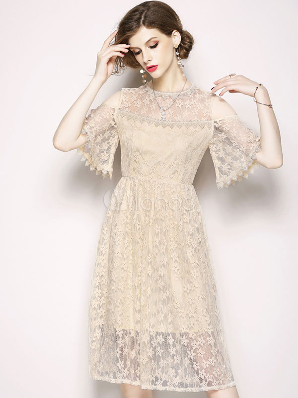 Buy Women Lace Dress Half Sleeve Cold Shoulder Summer Dress for $35.69 in Milanoo store