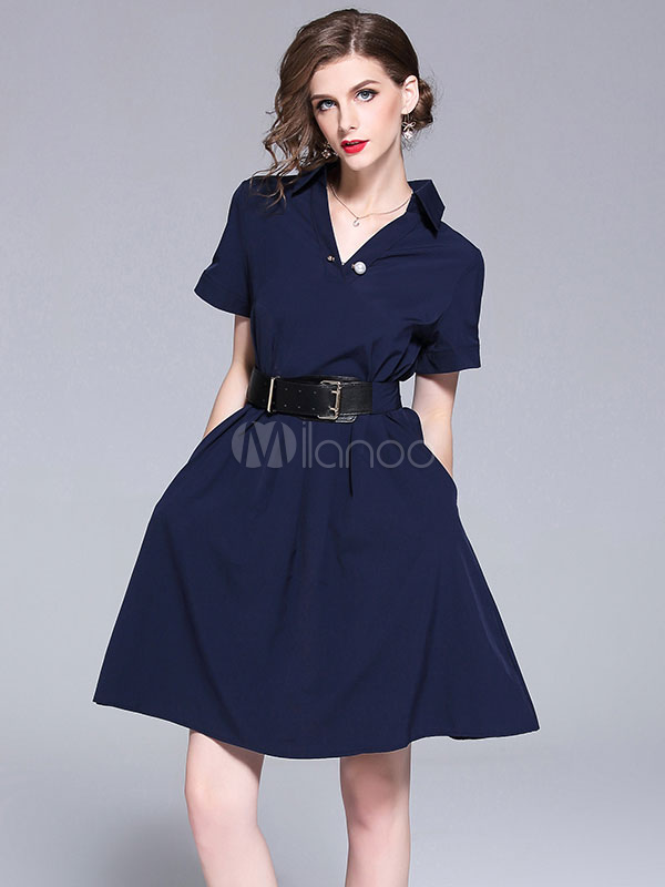 Buy Women Skater Dress Short Sleeve Dark Navy Turndown Collar Summer Dress for $37.39 in Milanoo store