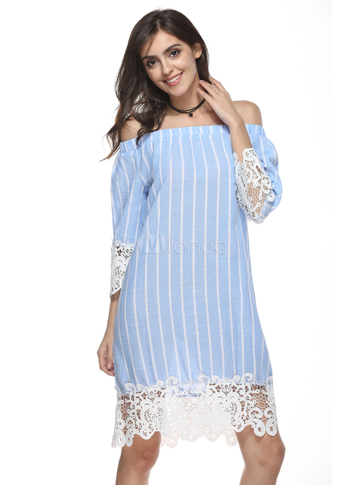 b93b04e5e390 Summer Dresses 2019 Striped Shift Dress Light Blue Off The Shoulder Lace  Midi Dress-No ...