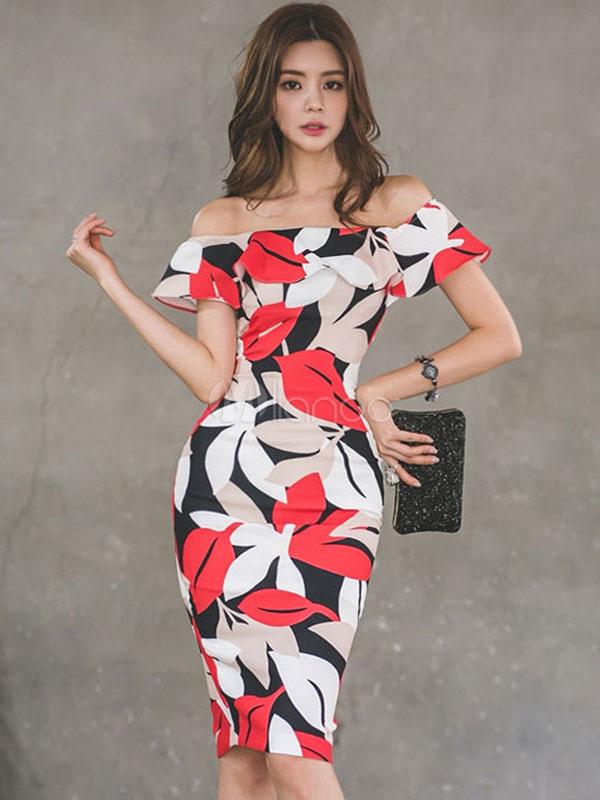 358cee4ae Vestido ajustado con estampado floral Vestido corto con estampado floral y  manga corta para mujer- ...