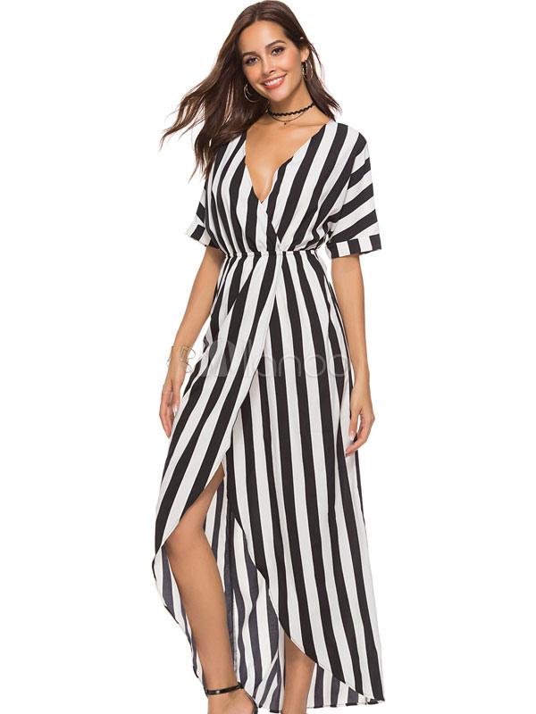 Buy Maxi Summer Dress Striped Half Sleeve V Neck Split Long Dress for $27.19 in Milanoo store