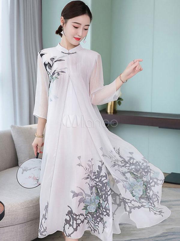 b7389ba2d1b Women Shift Dress Chinese Style Plus Size Print Silk Like Stand Collar  Split Long Dress- ...