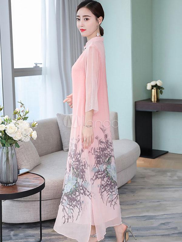 317c560cee6 ... Women Shift Dress Chinese Style Plus Size Print Silk Like Stand Collar  Split Long Dress- ...