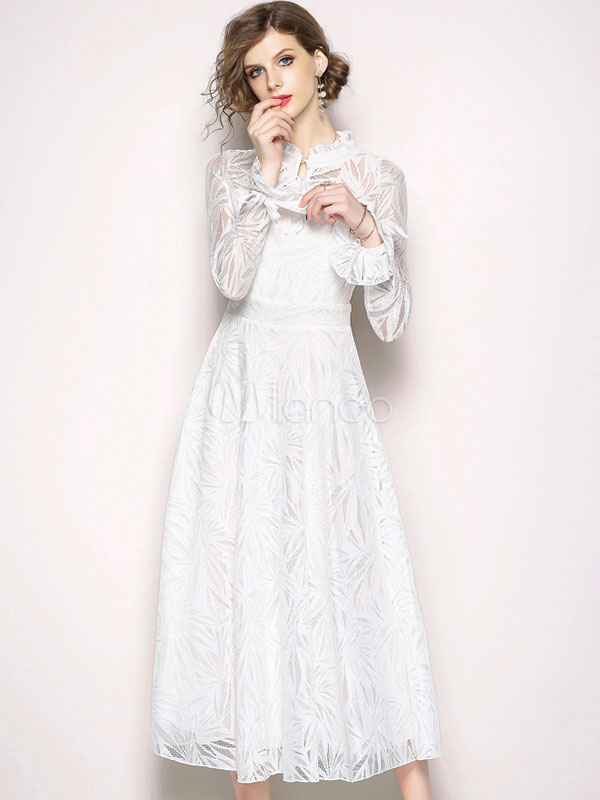 on sale 6caa4 8e02e Weißes Spitzenkleid Langarm Rüschen Stehkragen Solid Color Langes Kleid