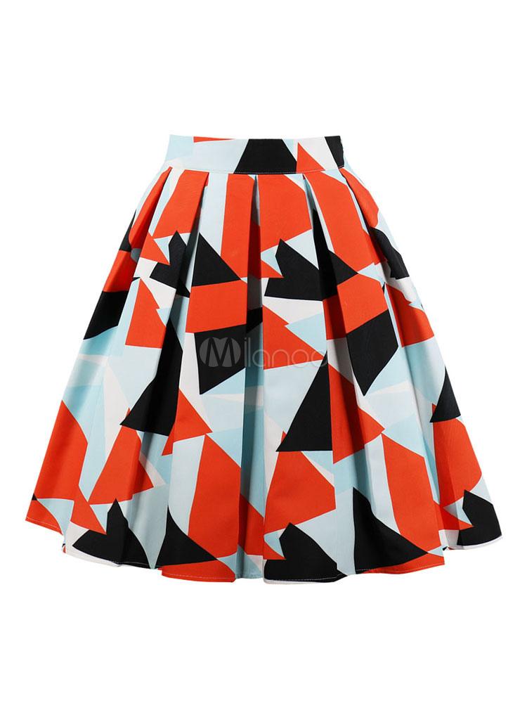 Longue Mi Plissé Femme Orange D'été Jupe Triangle Imprimé KclFT1J