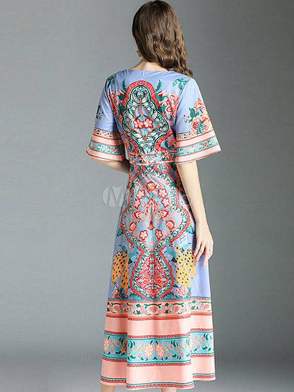 8f14407d9f76a Summer Dresses 2019 Half Sleeve Ethnic Print Lavender Long Dress