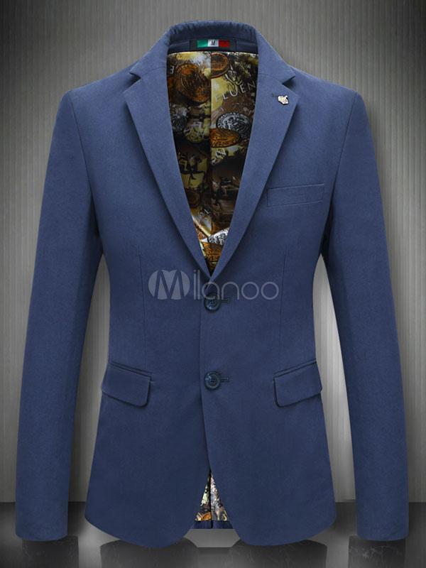 Fit Giacca Cotone A Da Bottoni Due Blazer In Slim Con Uomo Scuro Blu wBxwTCp1q