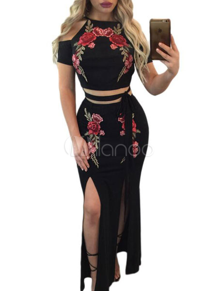 Buy Sexy Two Piece Set Women Short Sleeve Embroidered Club Top With Split Skirt for $24.64 in Milanoo store