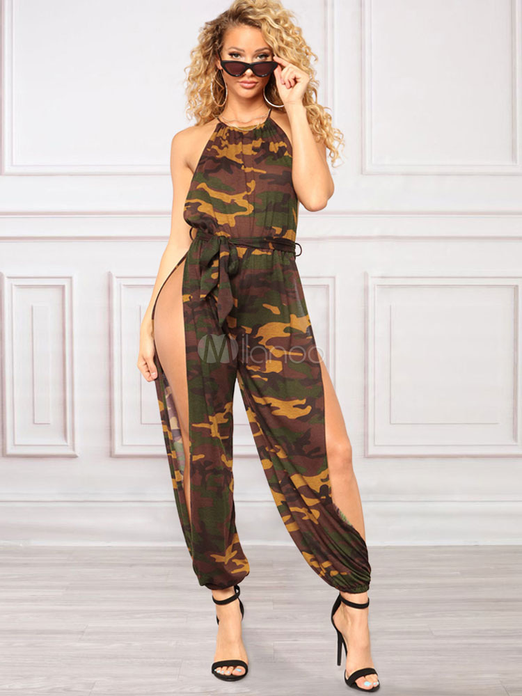 Buy Women Sexy Jumpsuit Camo Print Sleeveless Split Summer Jumpsuit for $23.19 in Milanoo store