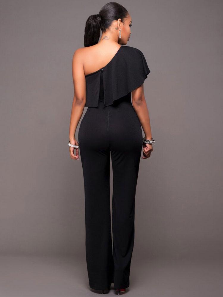 e2fad595a9 ... Women Black Jumpsuit Short Sleeve One Shoulder Wide Leg Jumpsuit-No.3