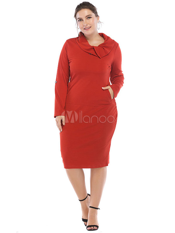 Plus Size Bodycon Dress Long Sleeve Buttons Turndown Collar Shaping
