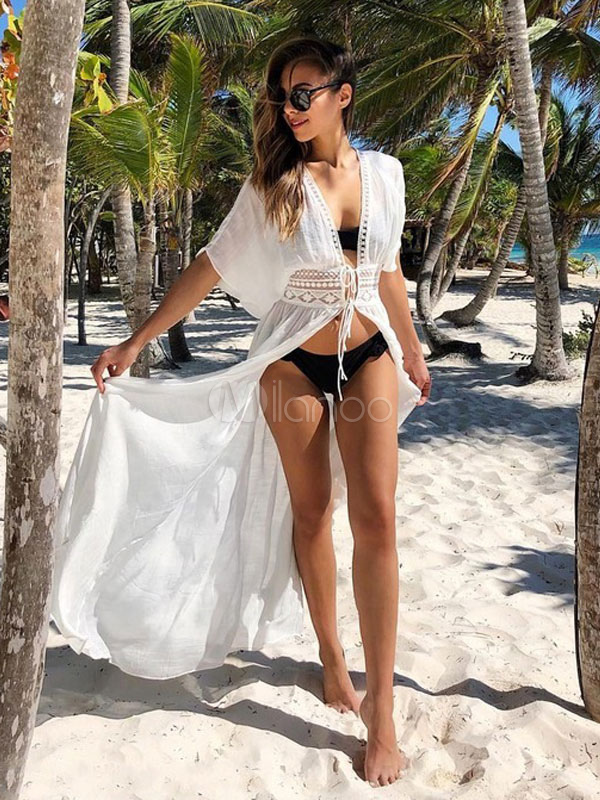Buy Women White Cover Up Half Sleeve Plunging Neck Lace Cotton Beach Dress for $23.99 in Milanoo store