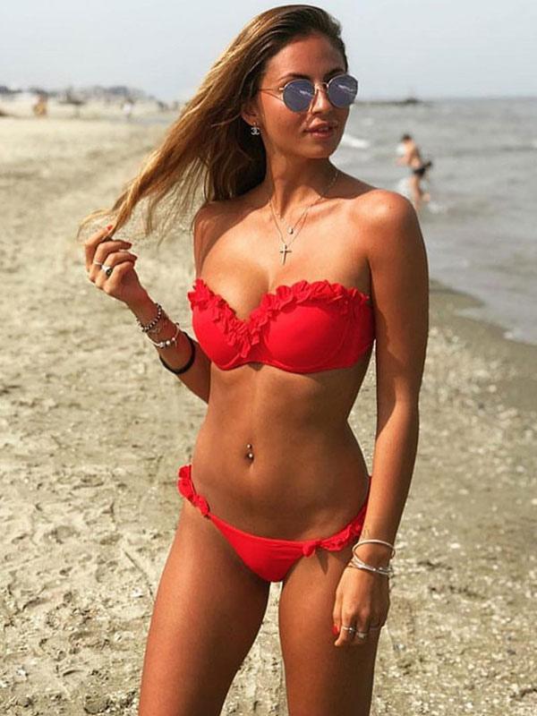 ce4075566d3 Sexy Bikini Swimwear Strapless Ruffles Solid Color Push Up Bikini Swimsuit-No.1  ...