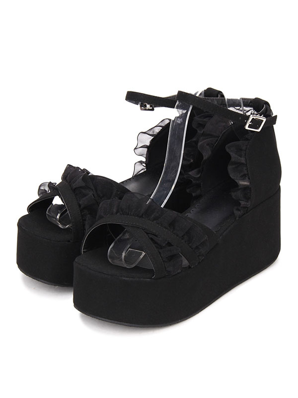 e84b6b1d1a ... Gothic Lolita Sandals Ruffle Ankle Strap Platform Wedge Heel Black  Lolita Shoes-No.2 ...
