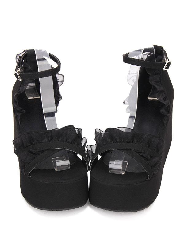 d9ccd8b7f3 Gothic Lolita Sandals Ruffle Ankle Strap Platform Wedge Heel Black Lolita  Shoes-No.1 ...