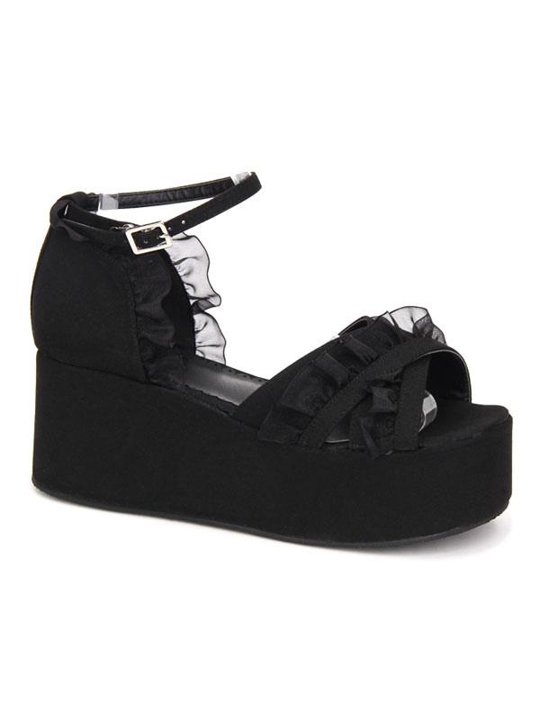 9f8e9af299 ... Gothic Lolita Sandals Ruffle Ankle Strap Platform Wedge Heel Black  Lolita Shoes-No.4 ...