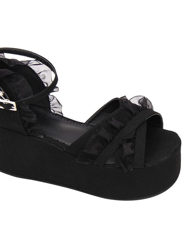 847d4d5241 ... Gothic Lolita Sandals Ruffle Ankle Strap Platform Wedge Heel Black  Lolita Shoes-No.6 ...