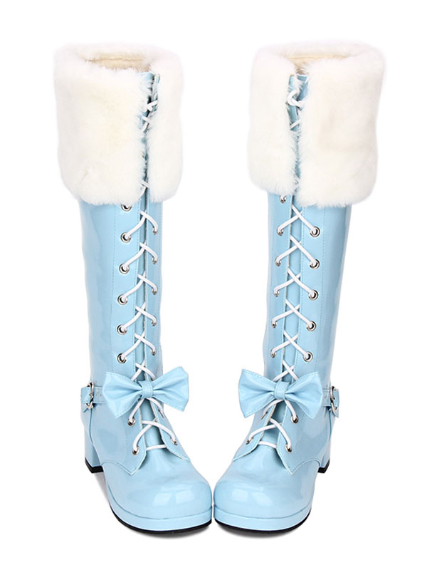 c948e32256d Sweet Lolita Boots Faux Fur Lace Up Bow Chunky Heel Blue Lolita Thigh High  Boots