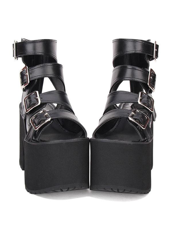 Gothic Lolita Sandals Buckle Platform