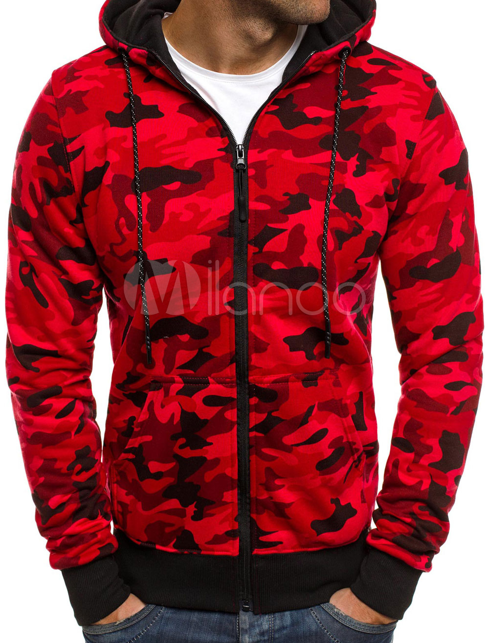 9b12c013dd4dc ... Long Sleeve Hoodie Camo Print Cuff Zipper Up Hooded Men Sweatshirt-No.3  ...