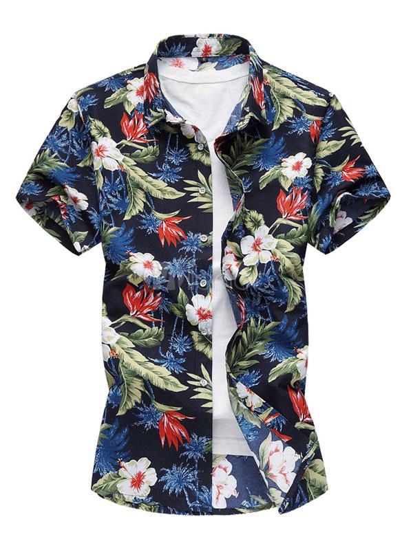 Buy Men Floral Shirt Plus Size Print Cotton T Shirt Navy Blue Short Sleeve Beach Shirt for $17.99 in Milanoo store