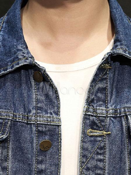 4016af006dfa Men Denim Jacket Plus Size Pocket Front Button Distressed Long Sleeve Jean  Jacket-No.