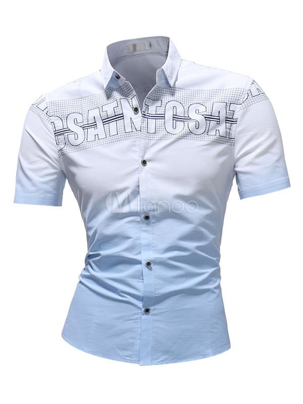 cd24e484714b Мужская повседневная рубашка Letter Print Ombre Slim Fit с коротким  рукавом-No.1 ...