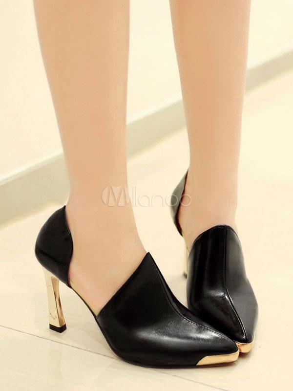 ... Zapatos de tacón alto de metal con tacones rojos y detalle de punta en  punta para. 12 4af24763a33c