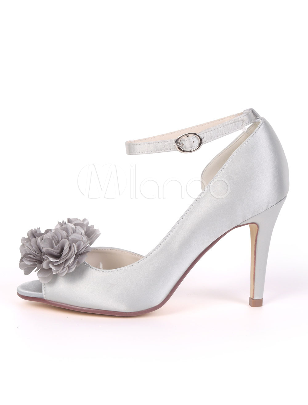 dbdc9577985f ... Ivory Wedding Shoes Satin Peep Toe Flower Ankle Strap Bridal Shoes  Women High Heels-No. 12. 50%OFF. Color Silver