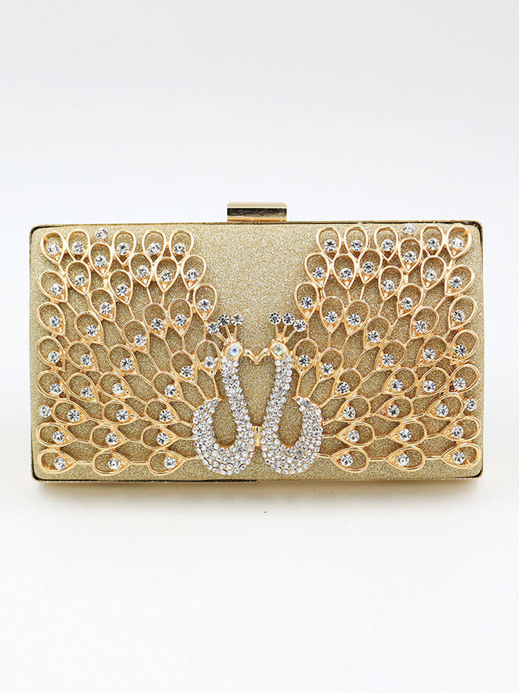 Details about  /Peacock Handmade Austria Crystal Wedding Bridal Clutch Evening Bag Red Gold