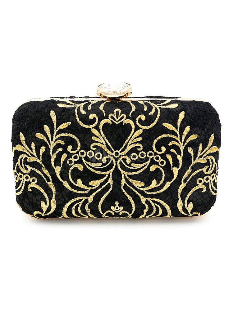 Buy Evening Clutch Purse Bag Black Embroidered Bridal Party Wedding Handbags for $40.49 in Milanoo store