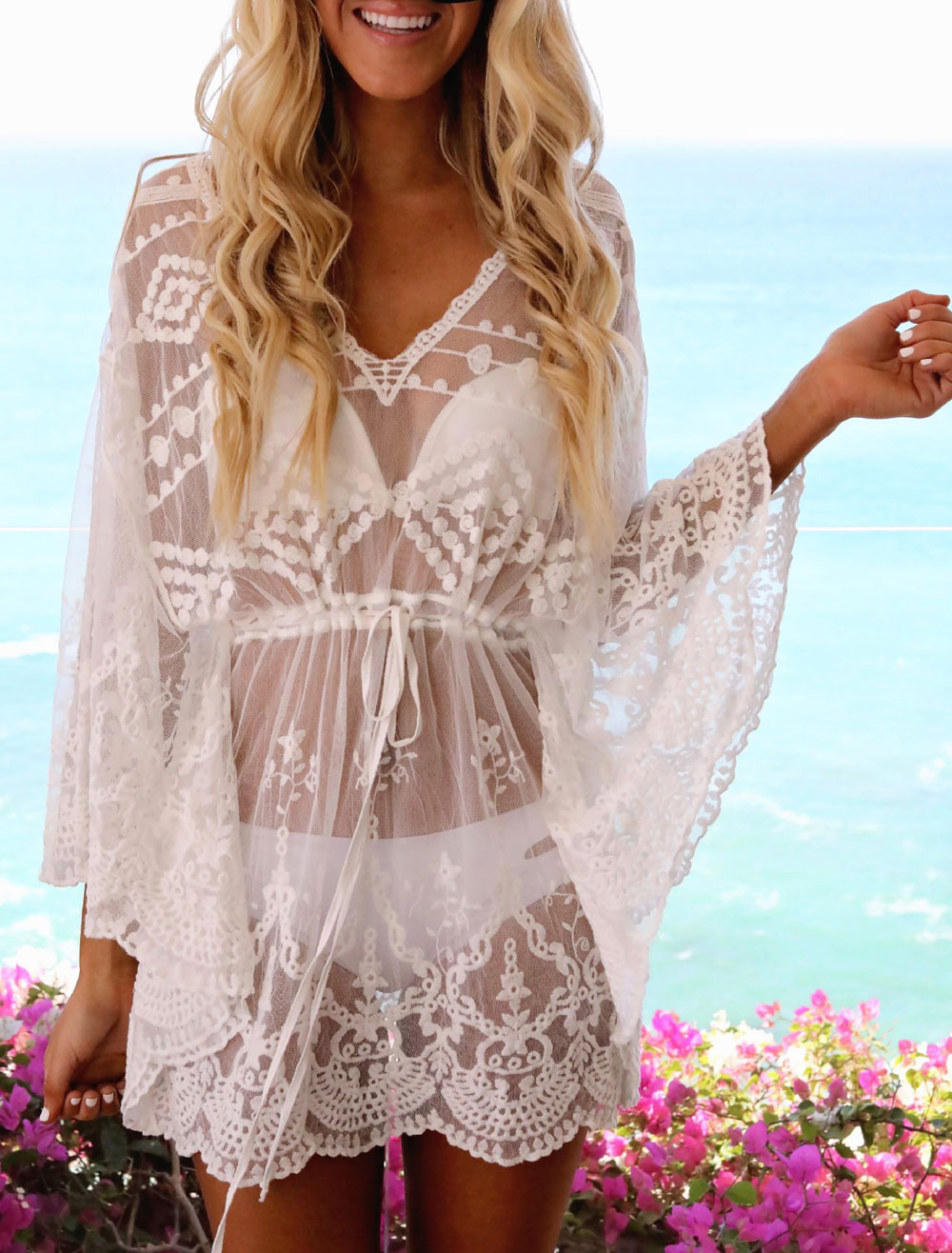 e5bbb47851e White Beach Cover Up Dress Sheer Lace V Neck Long Sleeve Women Bathing Suit- No ...