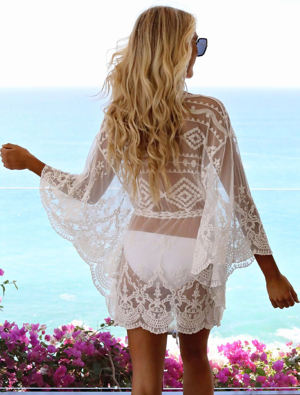 d34eb105a3b ... White Beach Cover Up Dress Sheer Lace V Neck Long Sleeve Women Bathing  Suit-No ...