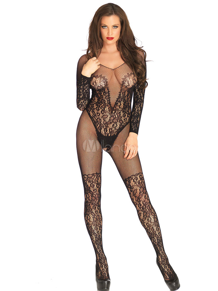 b7341ec1c Sexy Black Bodystocking Lace Crotchless Nylon Lingerie For Women-No.1 ...