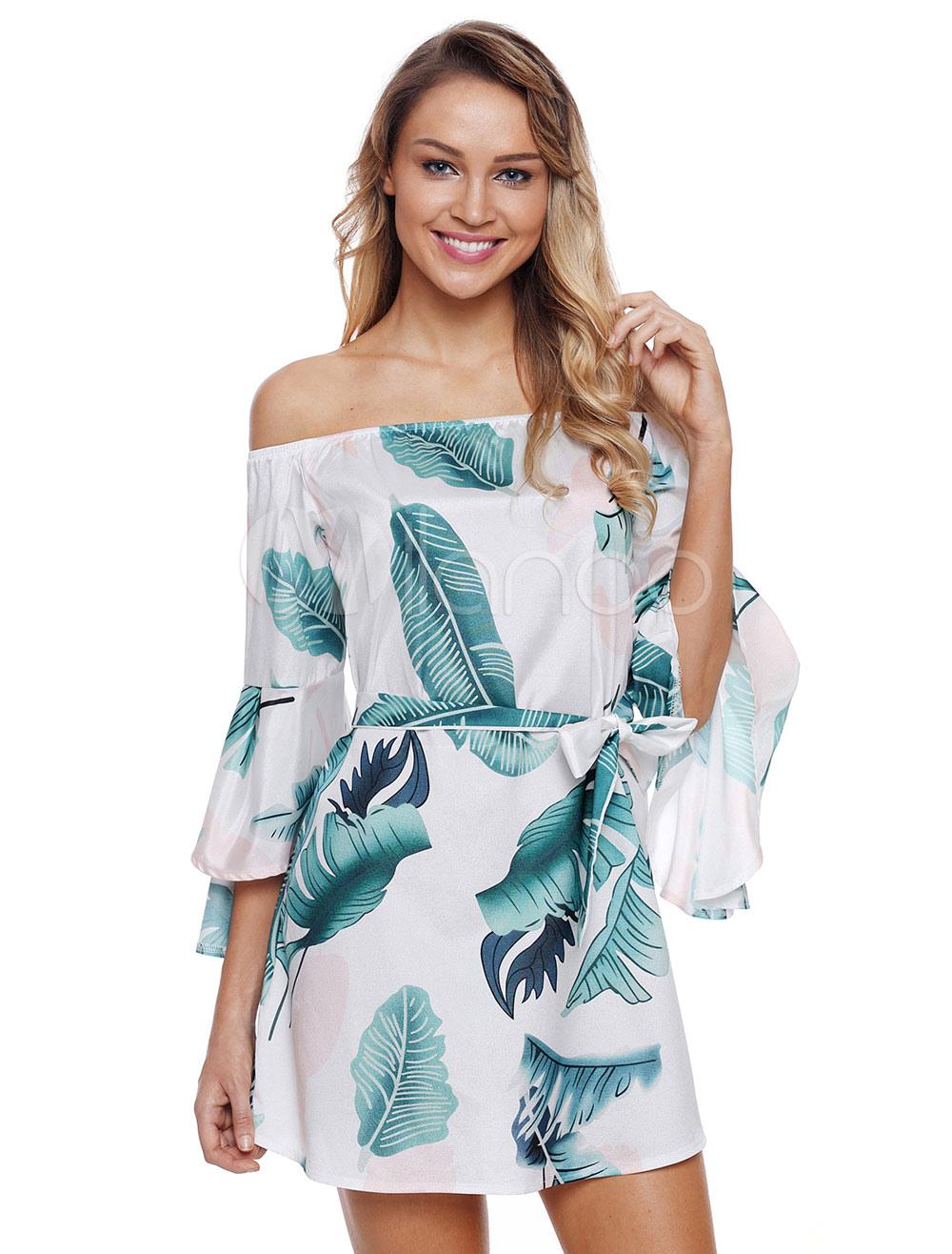 2e7bcace6ff7 Women Summer Dress 2019 Tropical Print Off Shoulder Bell Sleeve ...
