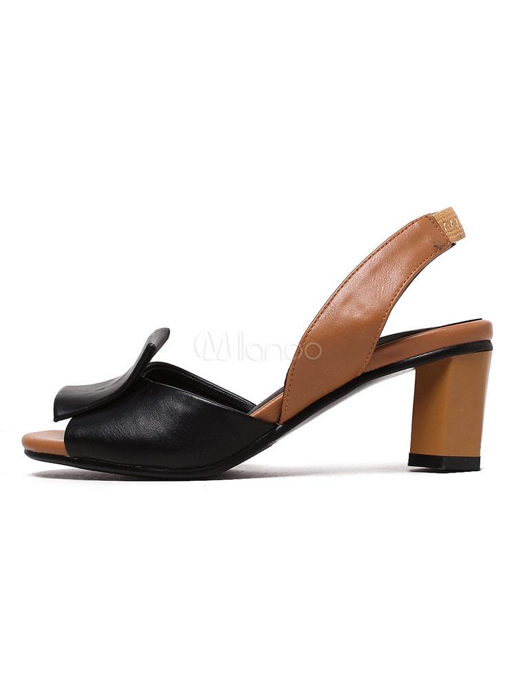 Talla Grande Medio De Sandalias Mujer Slingbacks Toe Tacón Peep Negras lcFTK1J