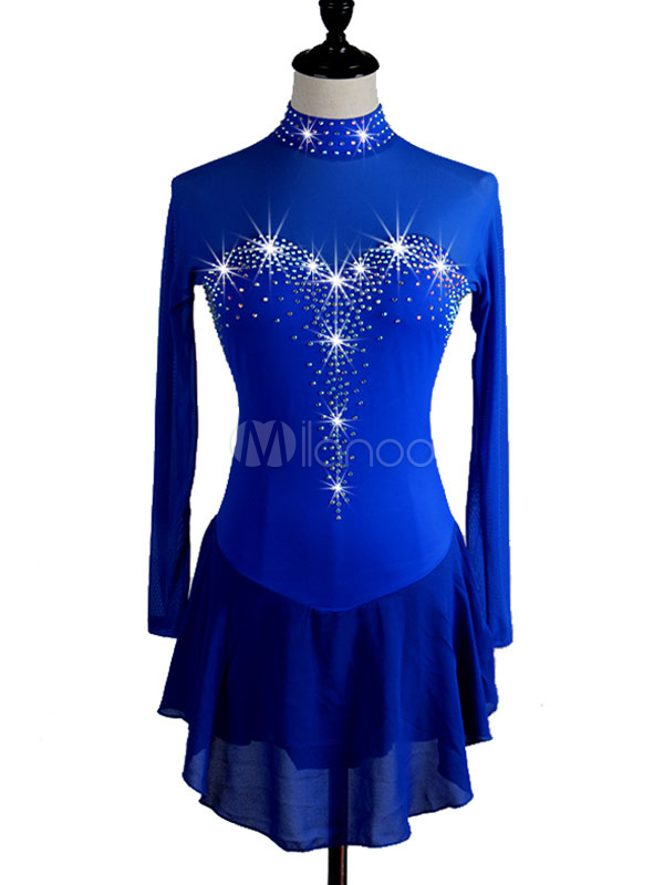 Frauen Eislaufen Kleid Royal Perlen Eiskunstlauf Blau 2019 Langarm Kostüm UpjzLqVGSM