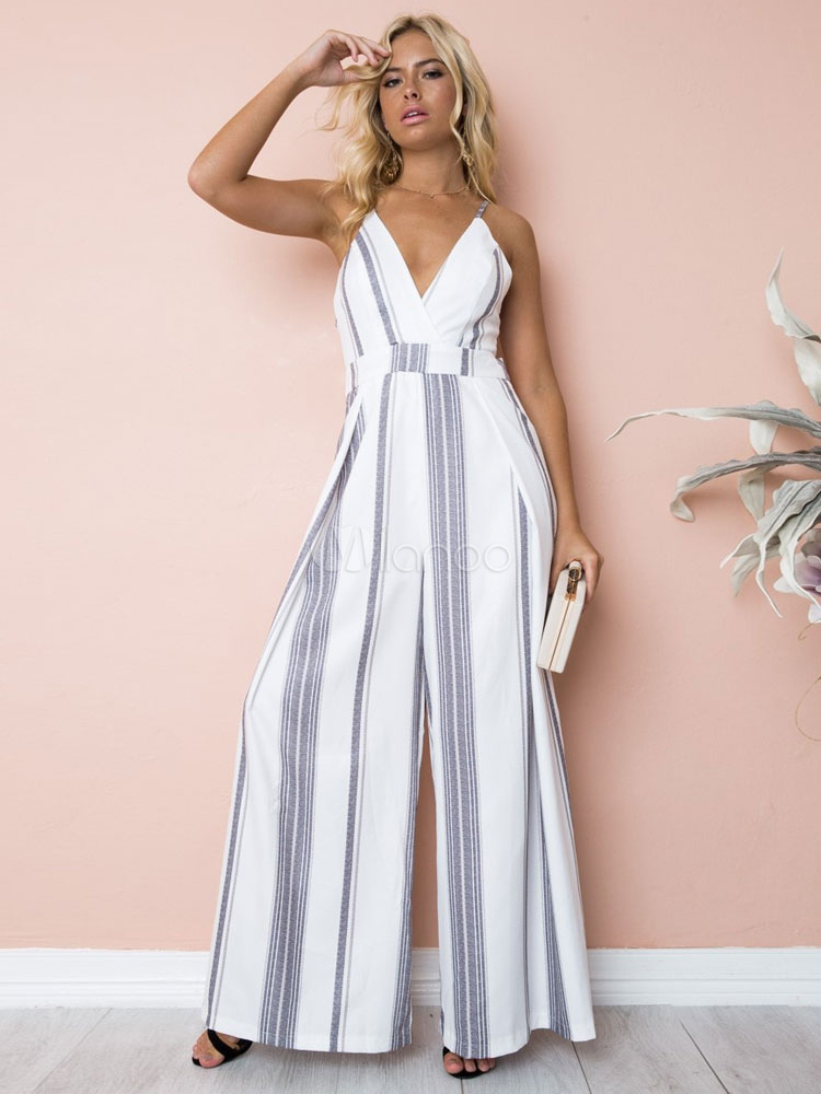 4af444840b5 Wide Leg Jumpsuit Striped Straps Low Back Summer Jumpsuit For Women-No.1 ...