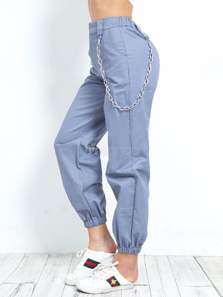 Pantalones Casuales Para Mujer Cadenas Pantalones Jogger De Cintura Elastica Milanoo Com