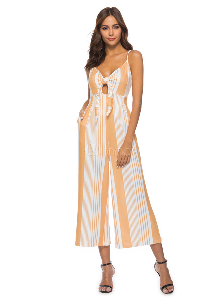 ce9c9200ef53 Striped Wide Leg Jumpsuit Yellow Straps Cut Out Knotted Summer Jumpsuit For  Women-No.