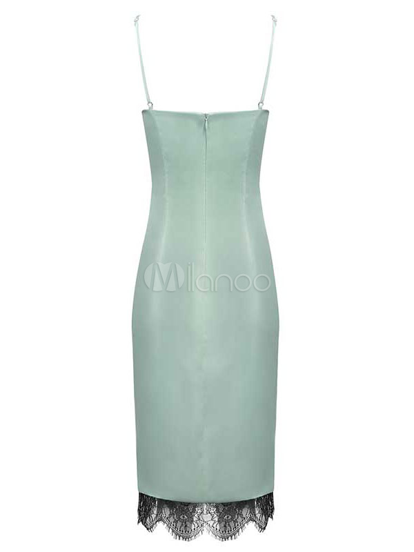 Sexy Party Dress Mint Green Semi Formal Dress Lace Split Slip Dress