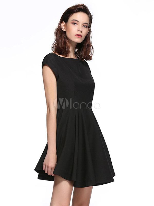 f9d21f3dadd9 Little Black Dress Women Short Party Dress Backless Short Sleeve Semi  Formal Dress-No.