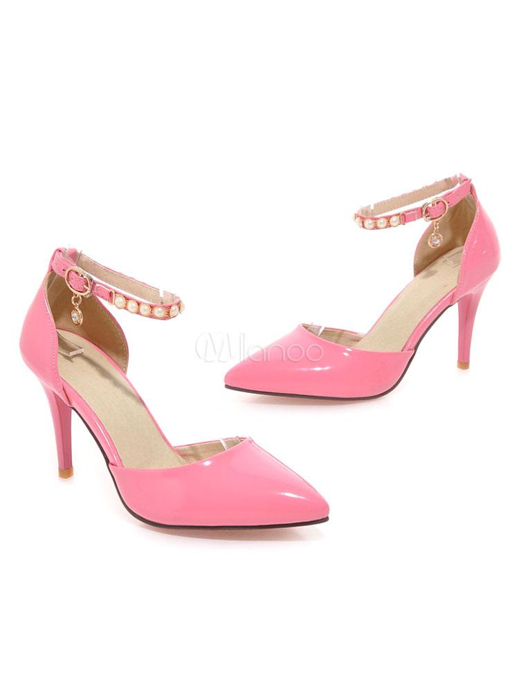 Zapatos de vestir de mujer de tacón alto negro Zapatos de vestir de punta de perlas Bombas de tira de tobillo sAvmzeaE